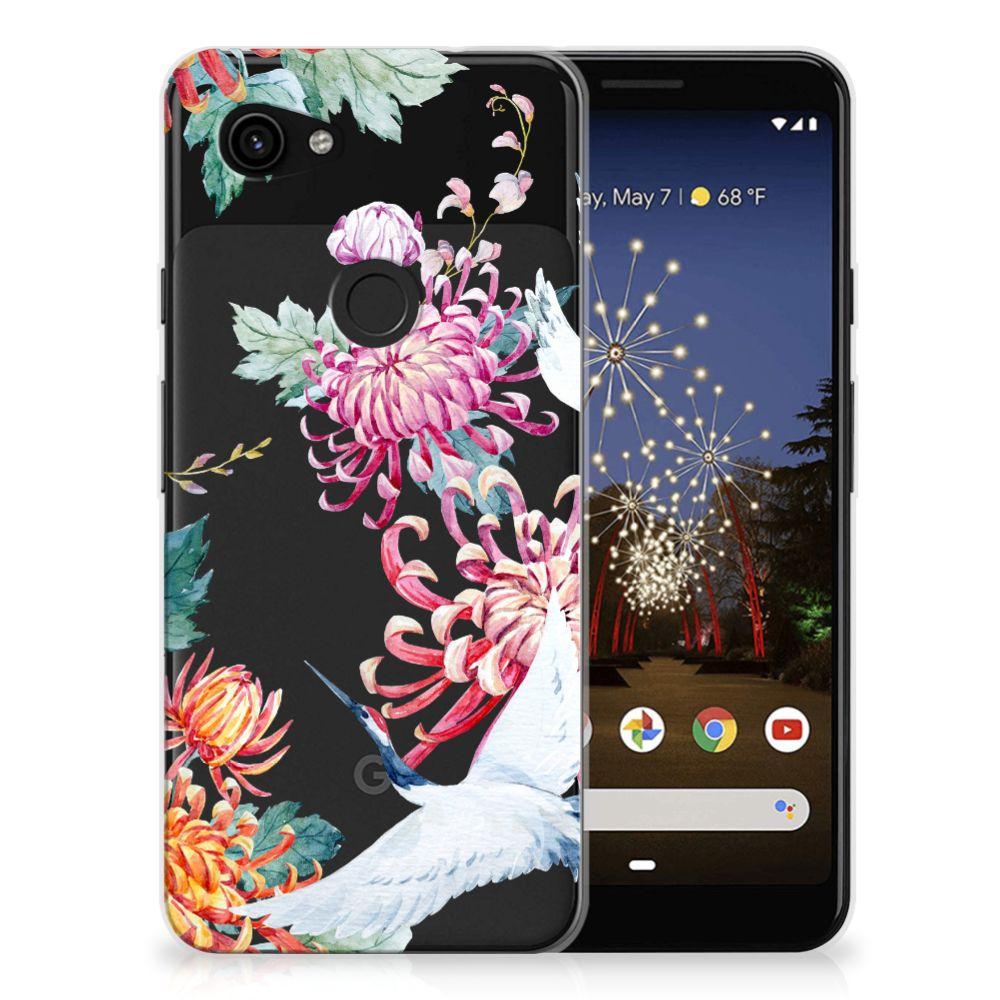 Google Pixel 3A TPU Hoesje Bird Flowers