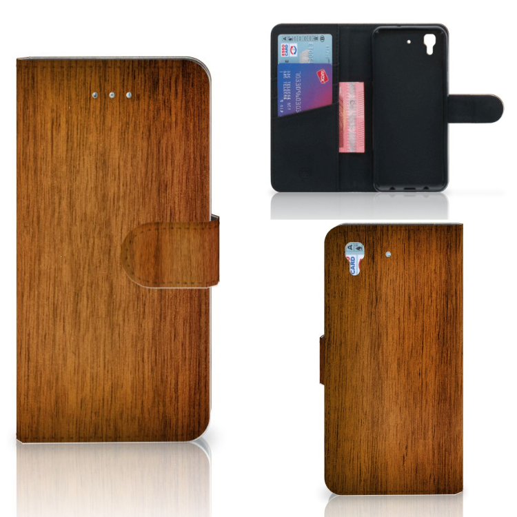 Honor 4A | Y6 Book Style Case Donker Hout