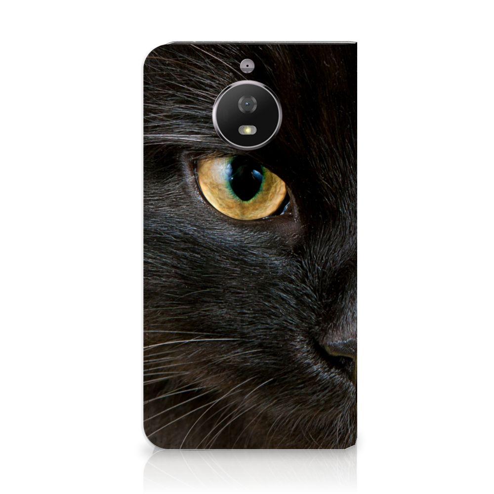 Motorola Moto G5S Uniek Standcase Hoesje Zwarte Kat