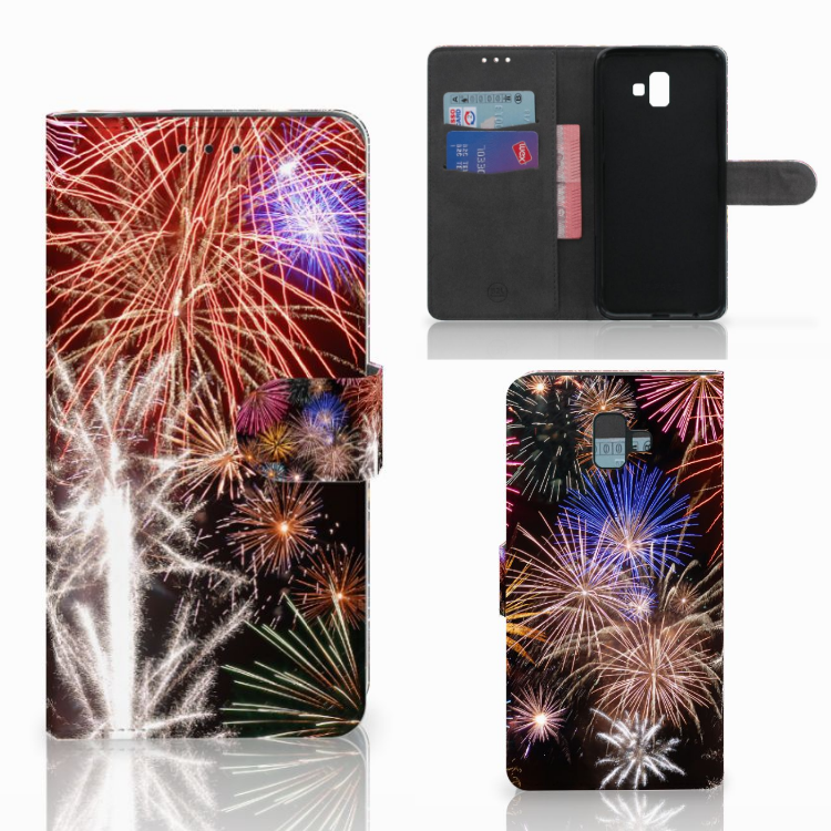 Samsung Galaxy J6 Plus (2018) Wallet Case met Pasjes Vuurwerk
