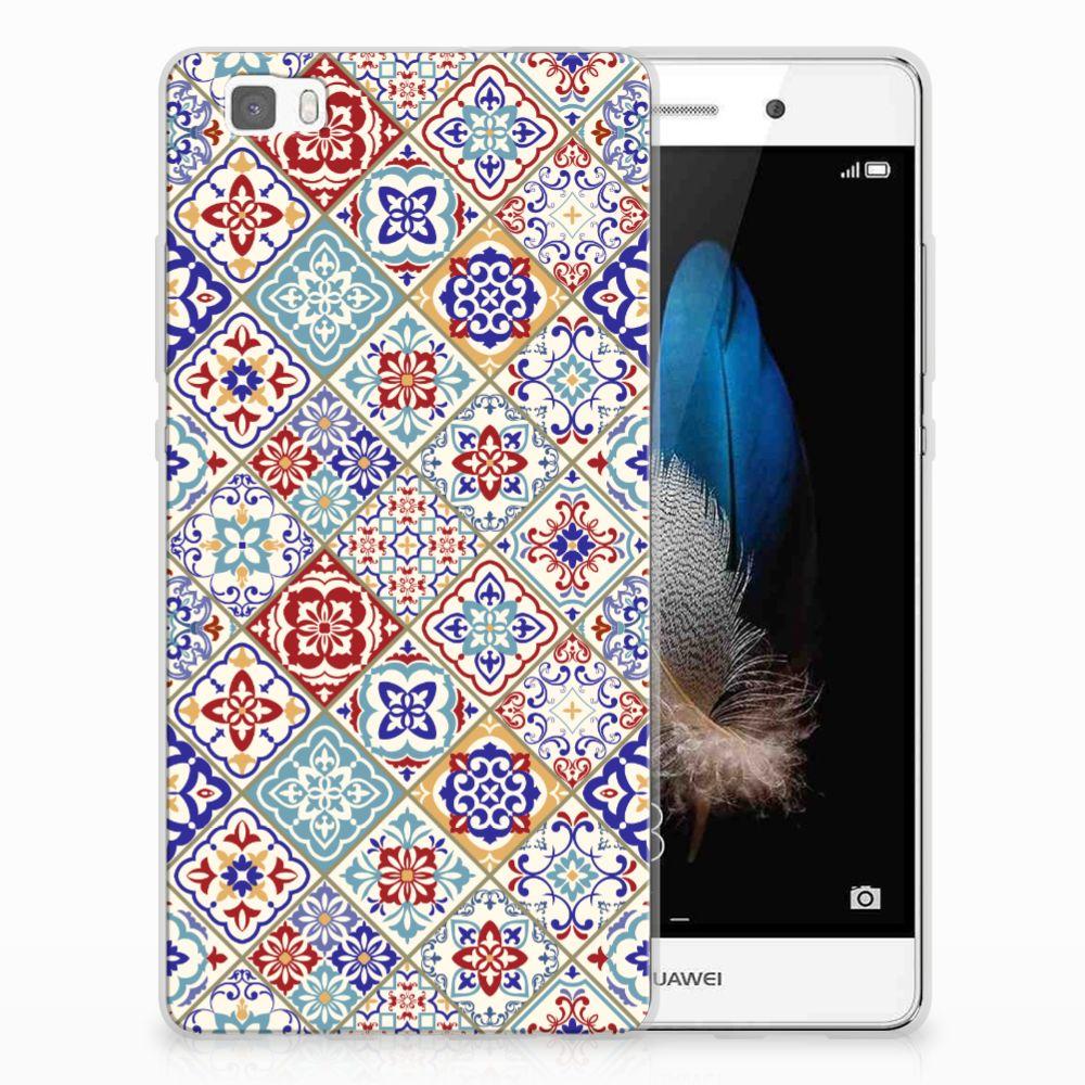 Huawei Ascend P8 Lite TPU Siliconen Hoesje Tiles Color