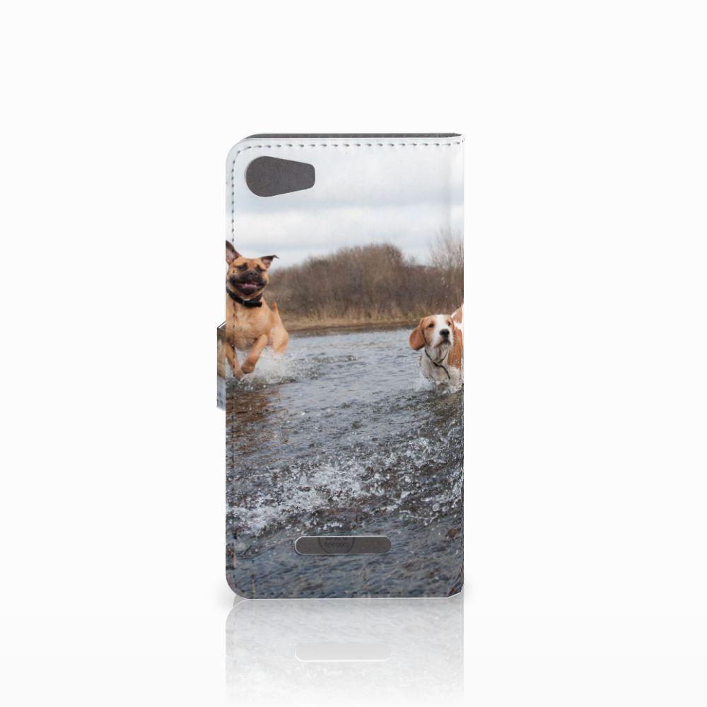 Wiko Lenny 2 Telefoonhoesje met Pasjes Honden Labrador