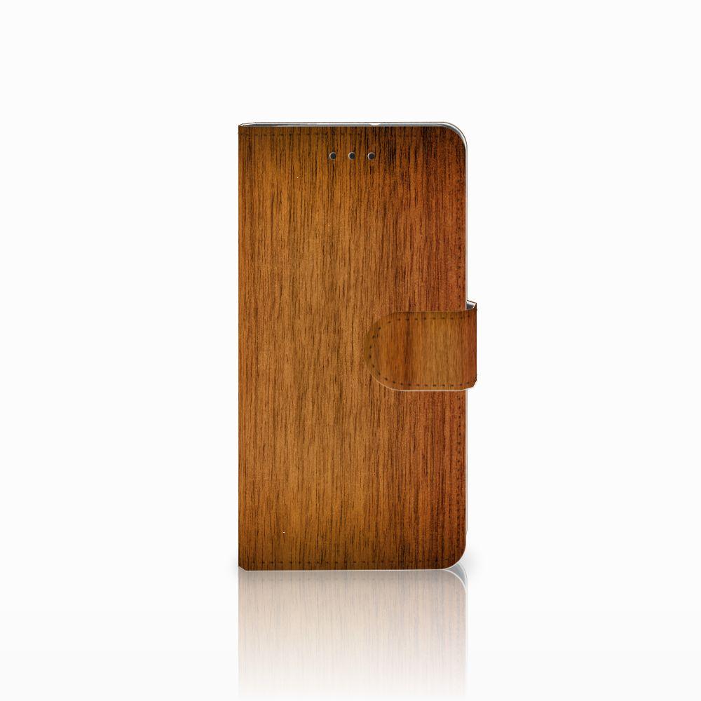 Motorola Moto G7 Play Uniek Boekhoesje Donker Hout