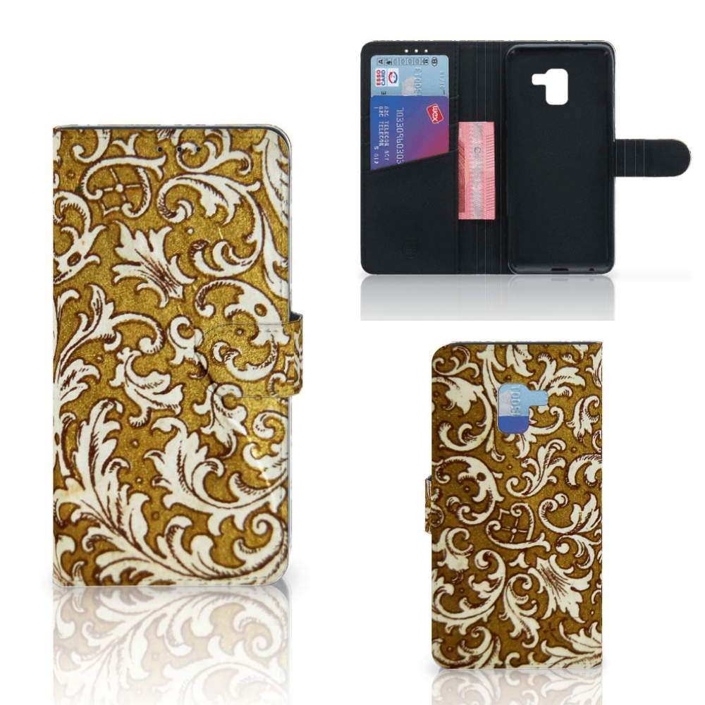Wallet Case Samsung Galaxy A8 Plus (2018) Barok Goud