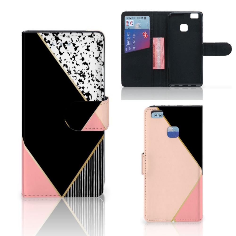 Huawei P9 Lite Bookcase Zwart Roze Vormen