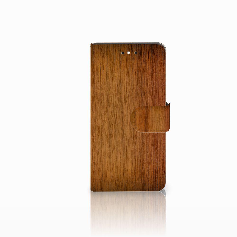 Huawei P8 Lite Smart (GR3) Uniek Boekhoesje Donker Hout