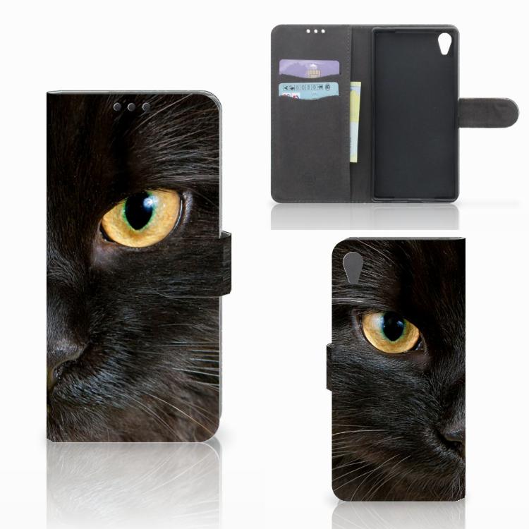 Sony Xperia Z5 Premium Telefoonhoesje met Pasjes Zwarte Kat