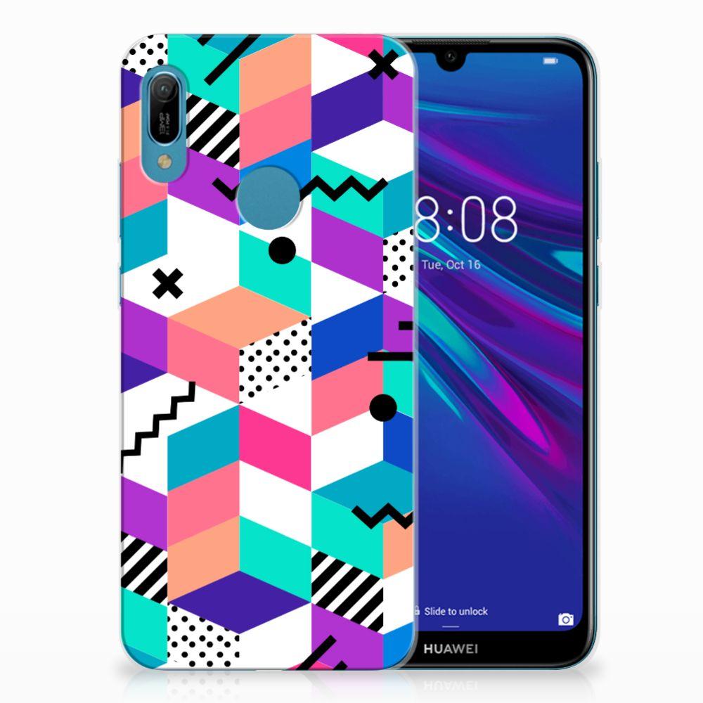 Huawei Y6 2019 | Y6 Pro 2019 TPU Hoesje Blokken Kleurrijk