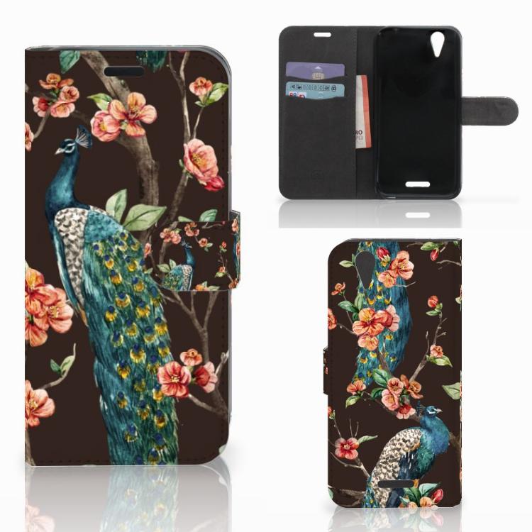Acer Liquid Z630 | Z630s Telefoonhoesje met Pasjes Pauw met Bloemen
