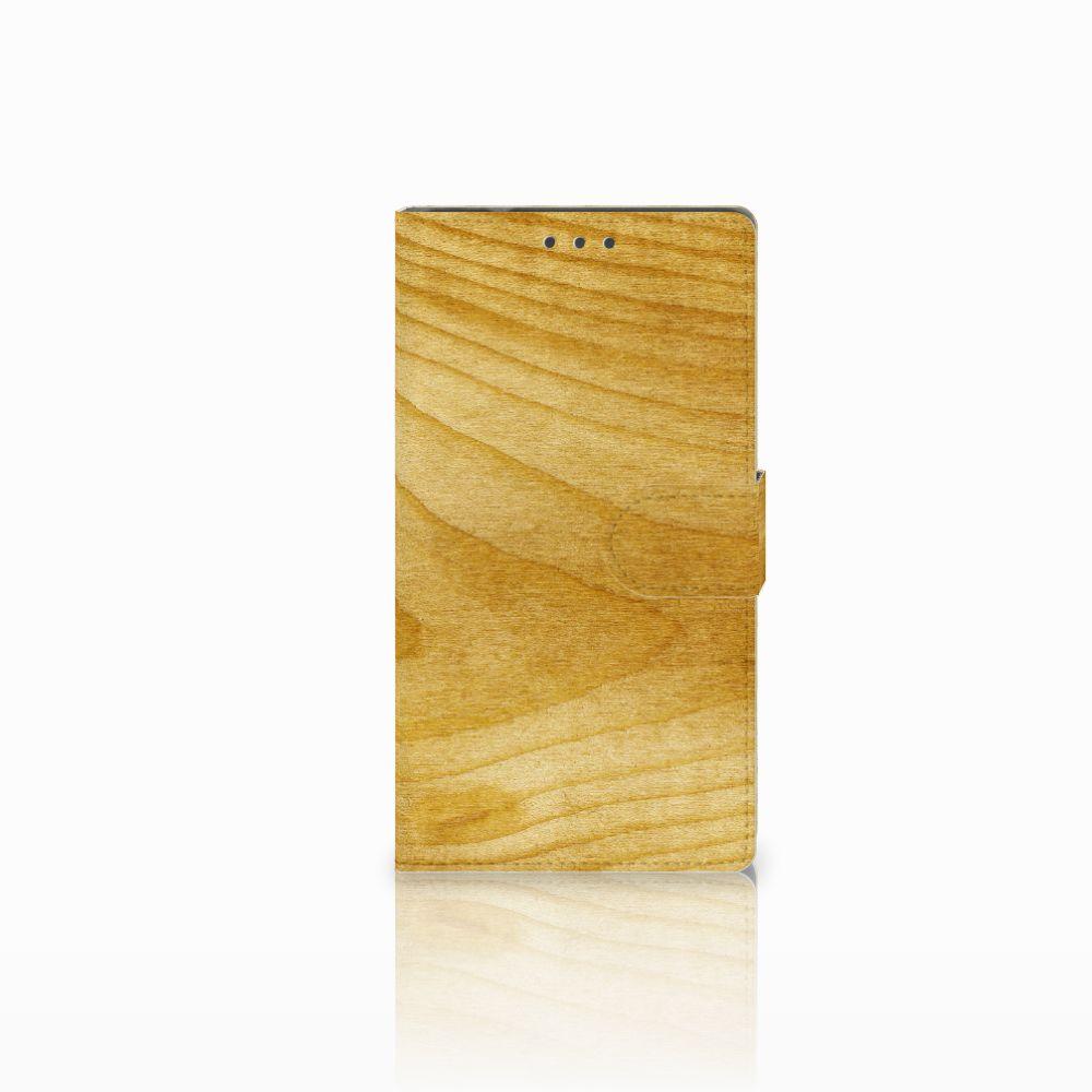 Samsung Galaxy Note 4 Uniek Boekhoesje Licht Hout