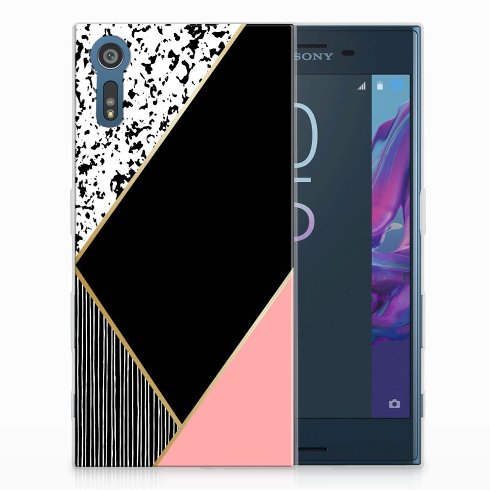 Sony Xperia XZs | XZ Uniek TPU Hoesje Black Pink Shapes