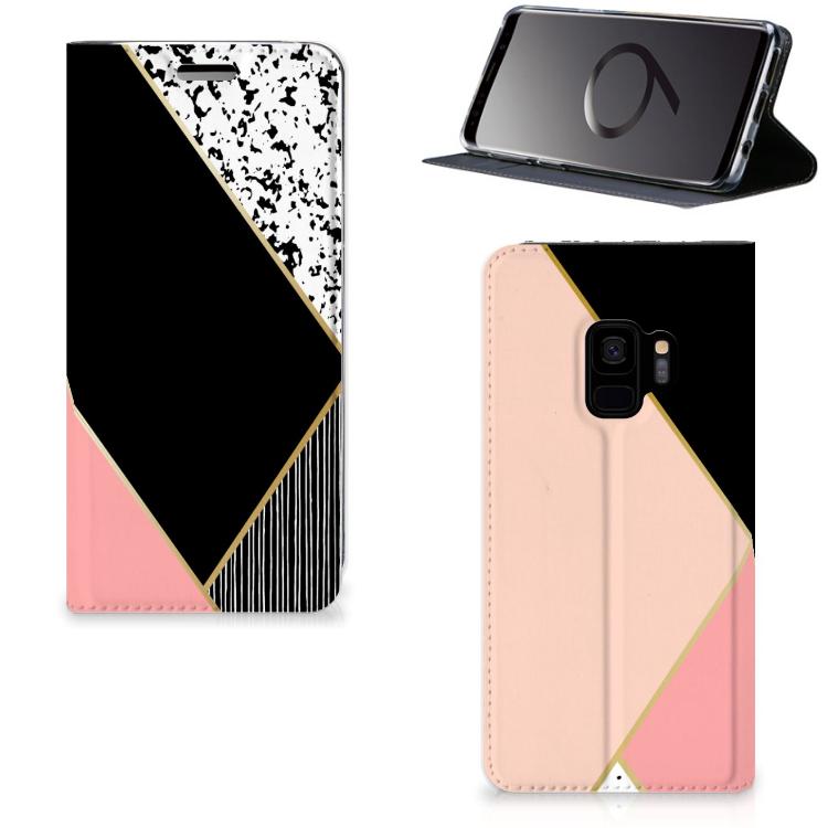 Samsung Galaxy S9 Stand Case Zwart Roze Vormen