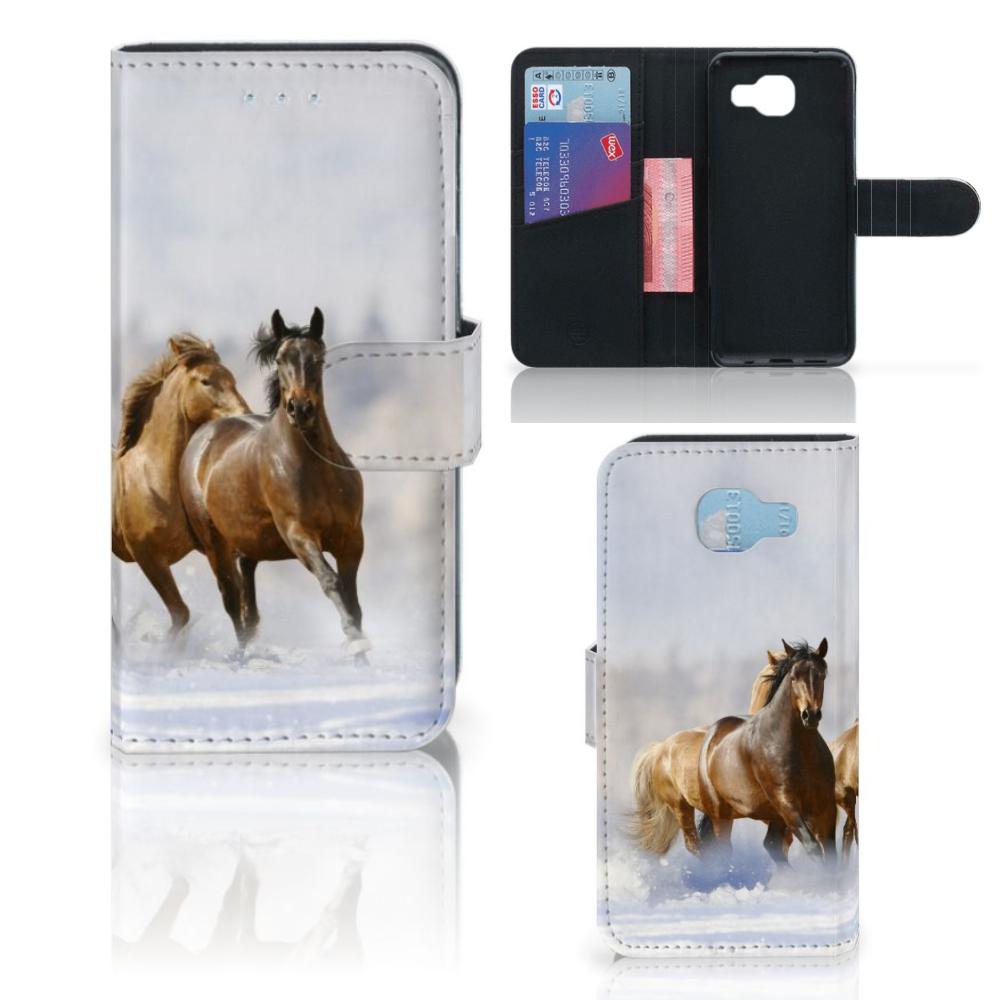 Samsung Galaxy A5 2016 Telefoonhoesje met Pasjes Paarden