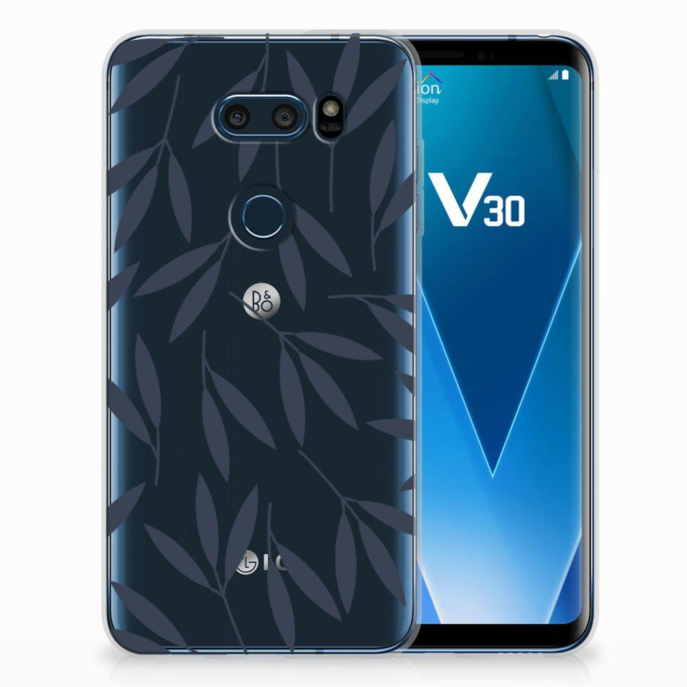 LG V30 TPU Hoesje Design Leaves Blue