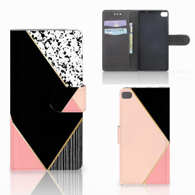 Huawei P8 Bookcase Zwart Roze Vormen