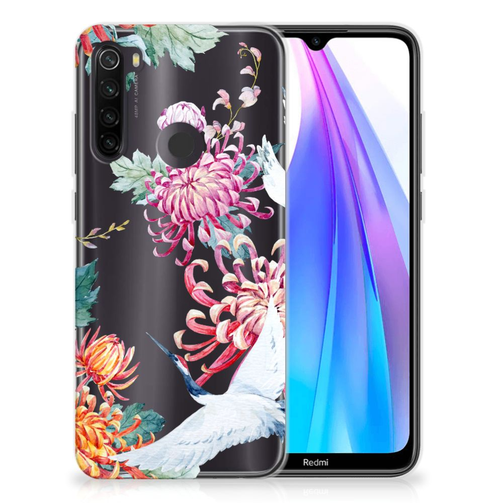 Xiaomi Redmi Note 8T TPU Hoesje Bird Flowers