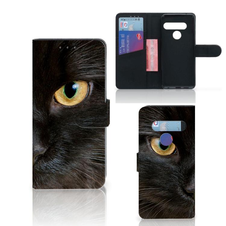 LG G8s Thinq Telefoonhoesje met Pasjes Zwarte Kat