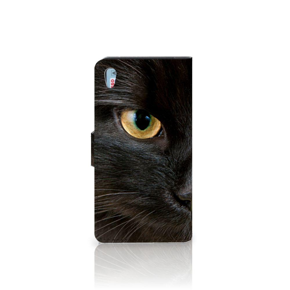 Sony Xperia Z5 | Z5 Dual Telefoonhoesje met Pasjes Zwarte Kat