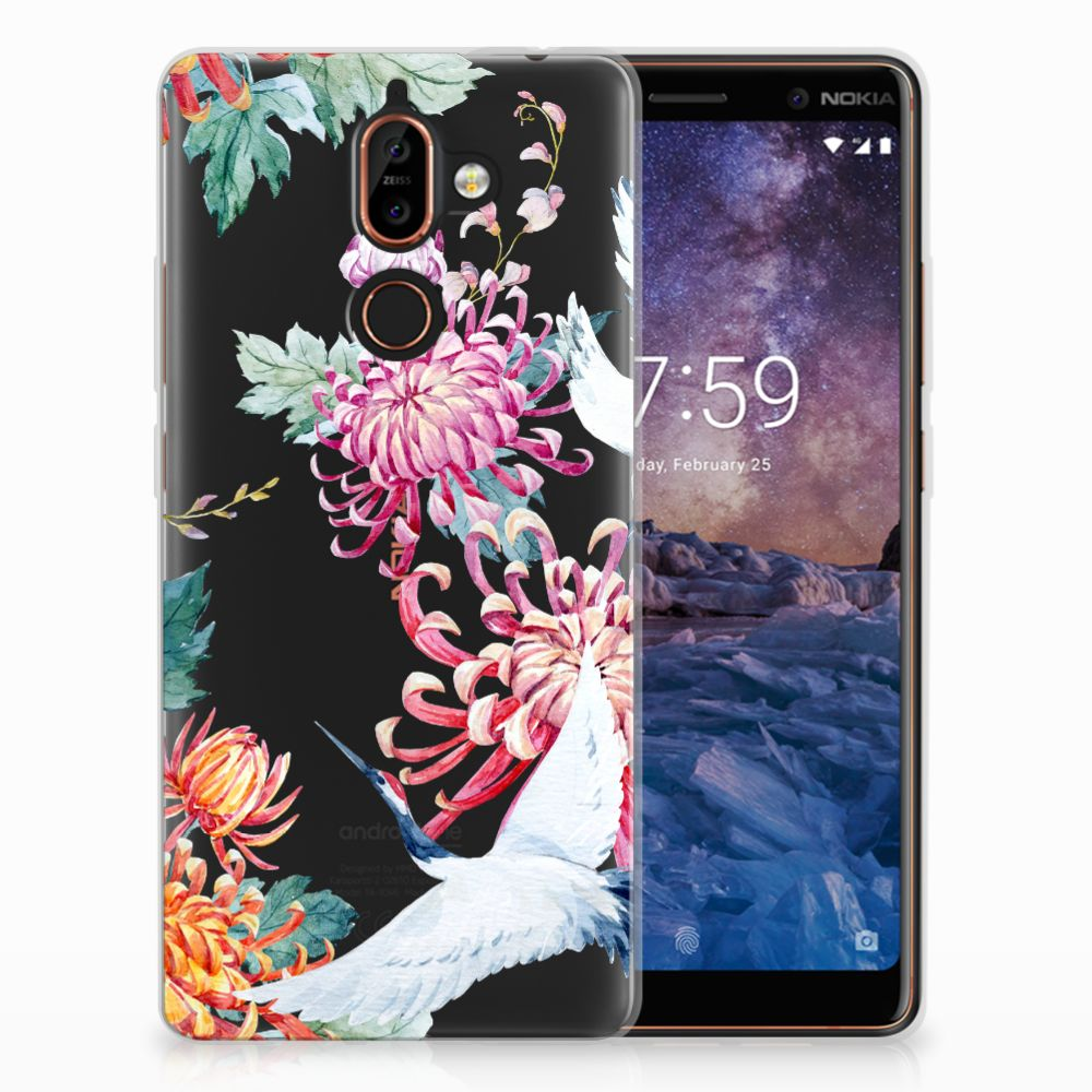 Nokia 7 Plus Uniek TPU Hoesje Bird Flowers