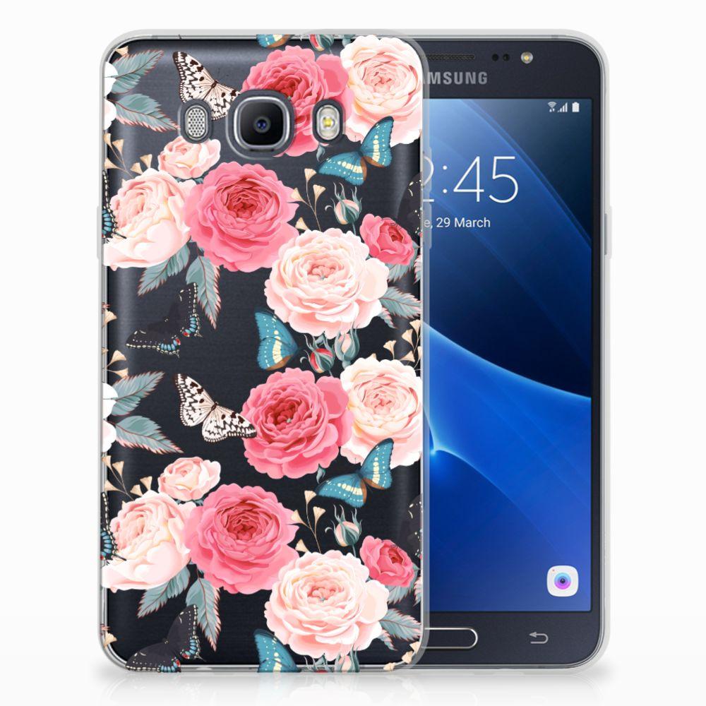 Samsung Galaxy J7 2016 Uniek TPU Hoesje Butterfly Roses