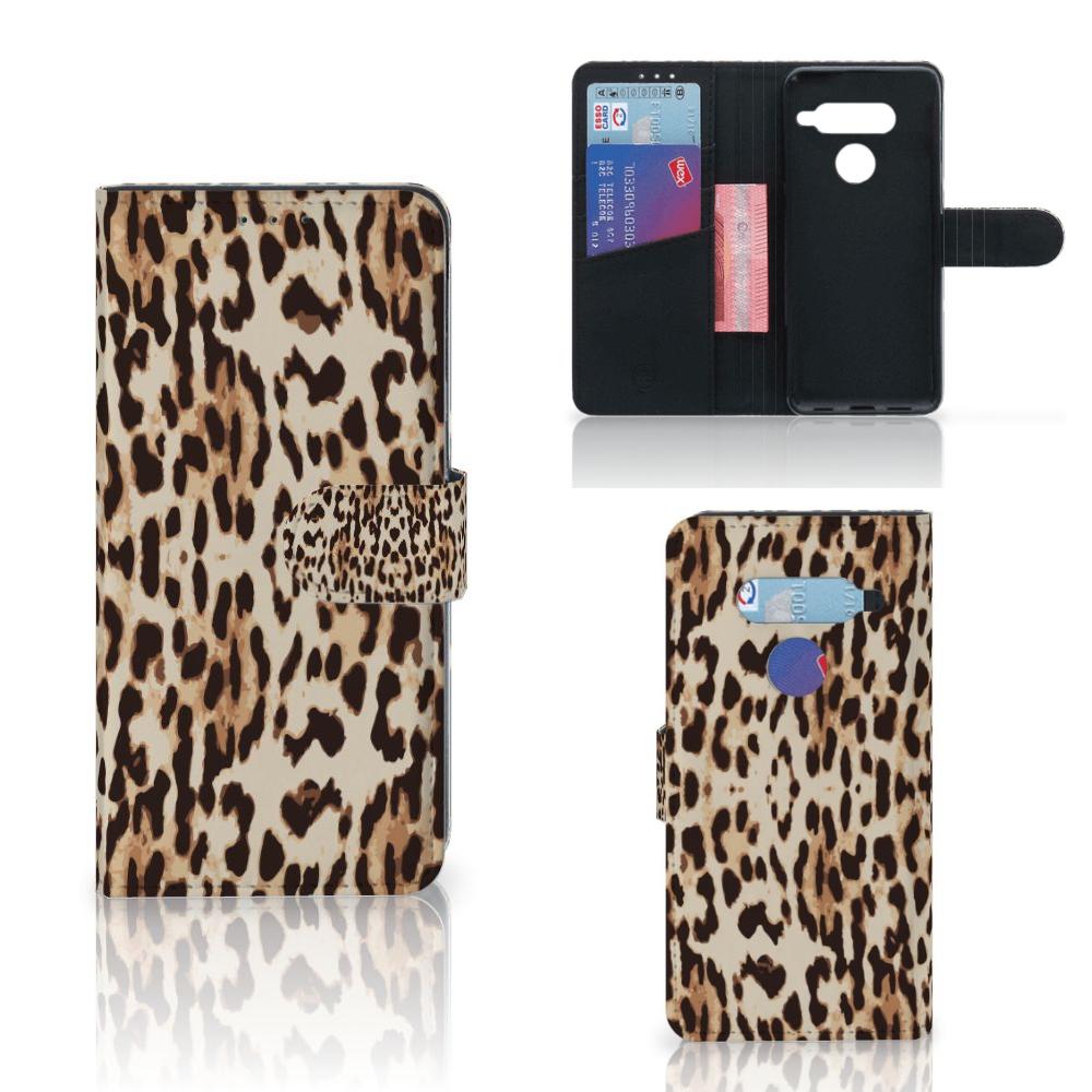 LG V40 Thinq Telefoonhoesje met Pasjes Leopard