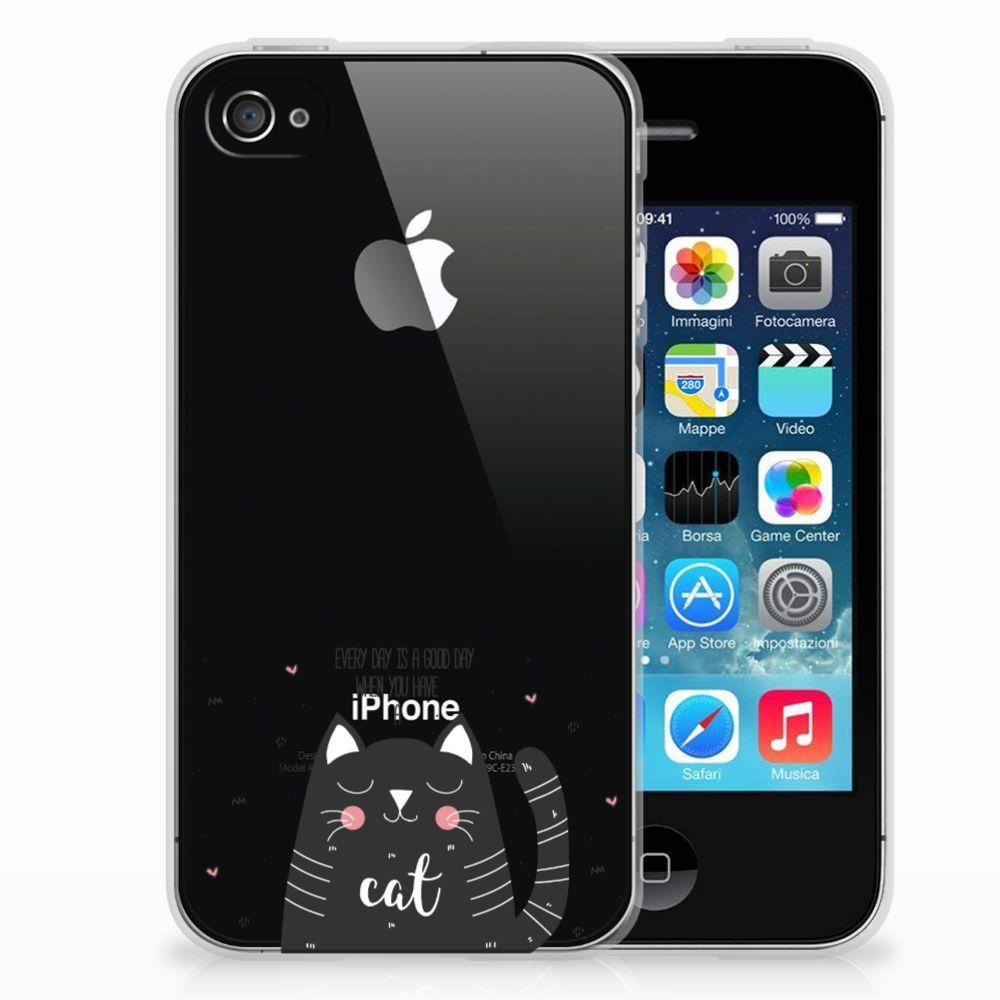 Apple iPhone 4 | 4s Telefoonhoesje met Naam Cat Good Day