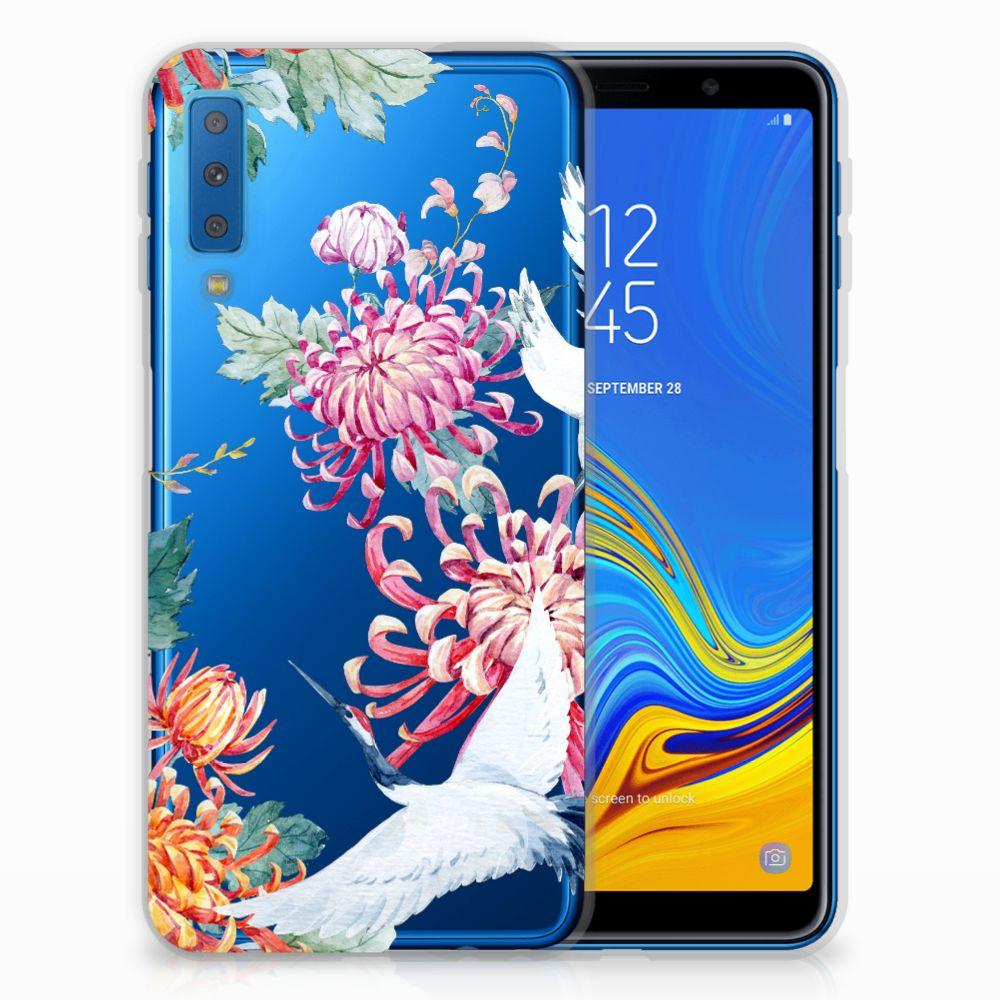 Samsung Galaxy A7 (2018) Leuk Hoesje Bird Flowers