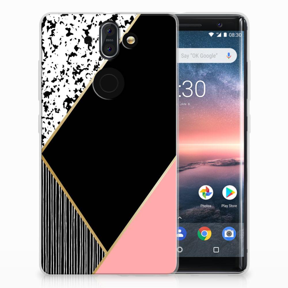 Nokia 9 | 8 Sirocco Uniek TPU Hoesje Black Pink Shapes