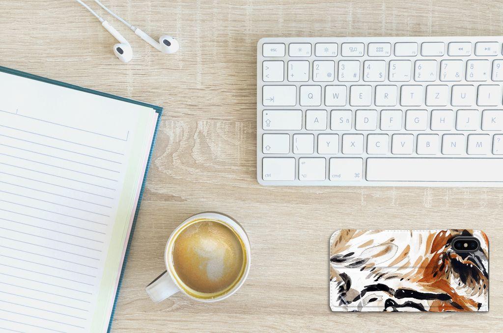 Apple iPhone X | Xs Uniek Standcase Hoesje Watercolor Tiger
