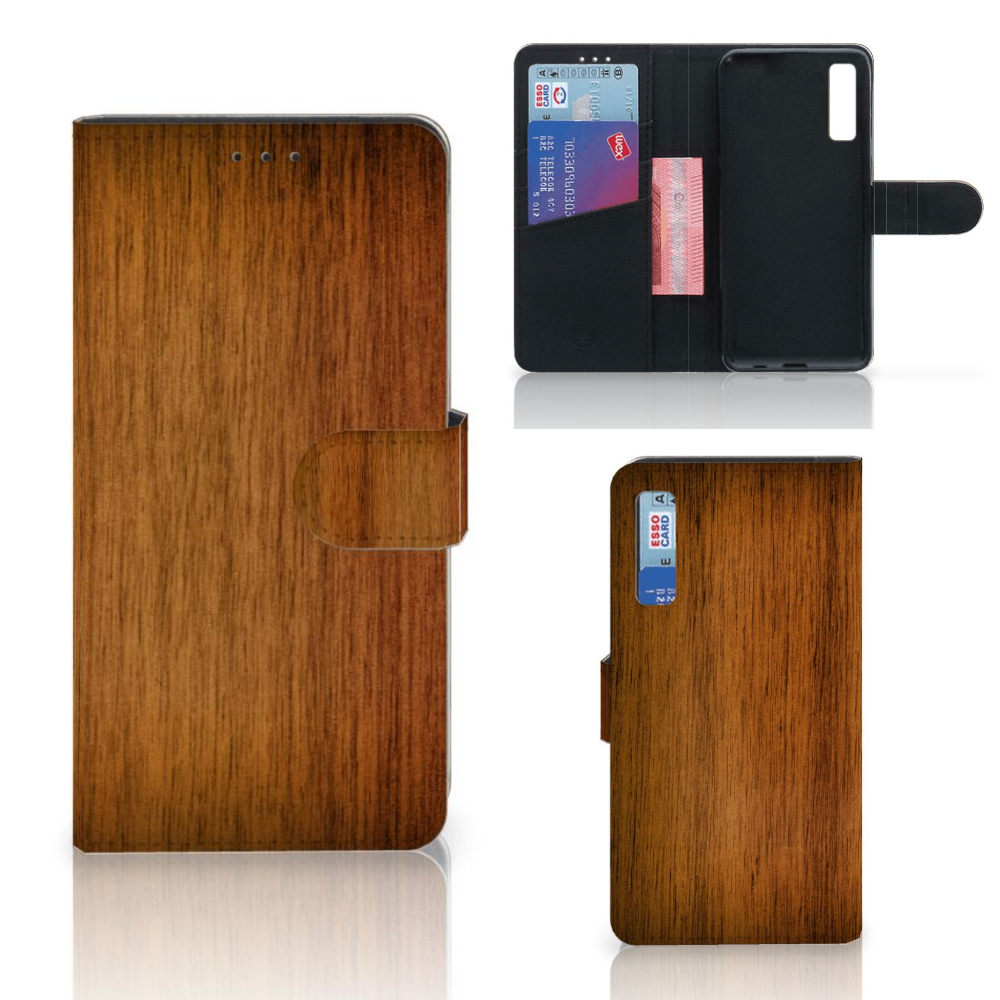 Samsung Galaxy A7 (2018) Book Style Case Donker Hout
