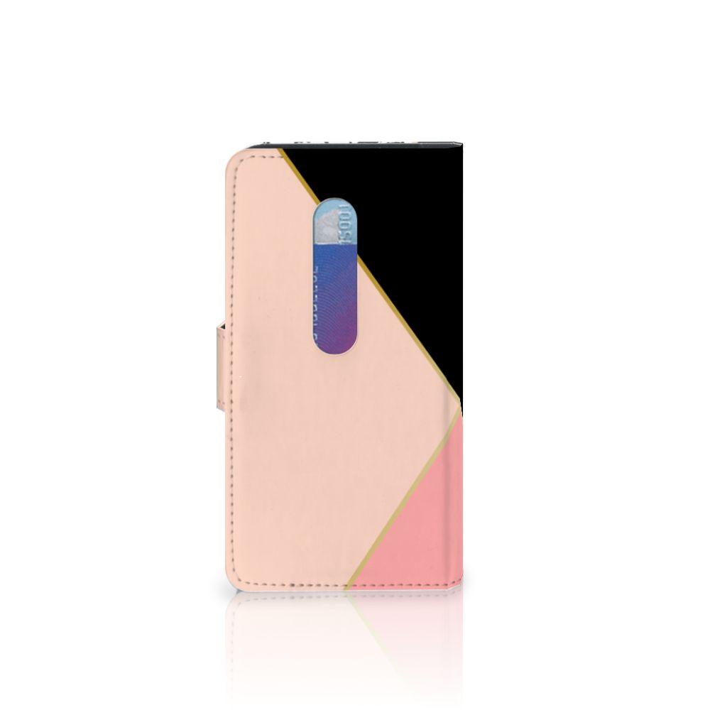 Motorola Moto G 3e Generatie Bookcase Zwart Roze Vormen