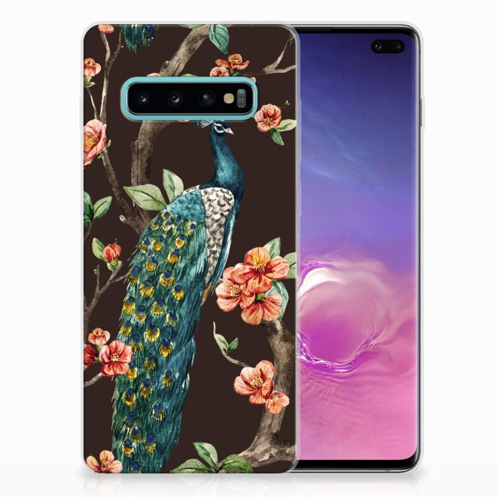 Samsung Galaxy S10 Plus TPU Hoesje Design Pauw met Bloemen