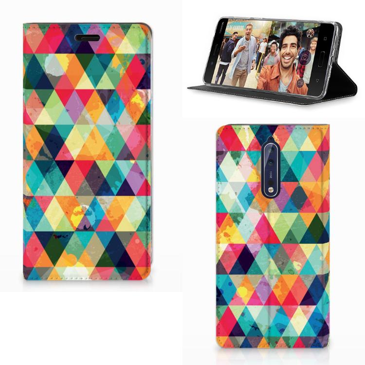 Nokia 8 Hoesje met Magneet Geruit