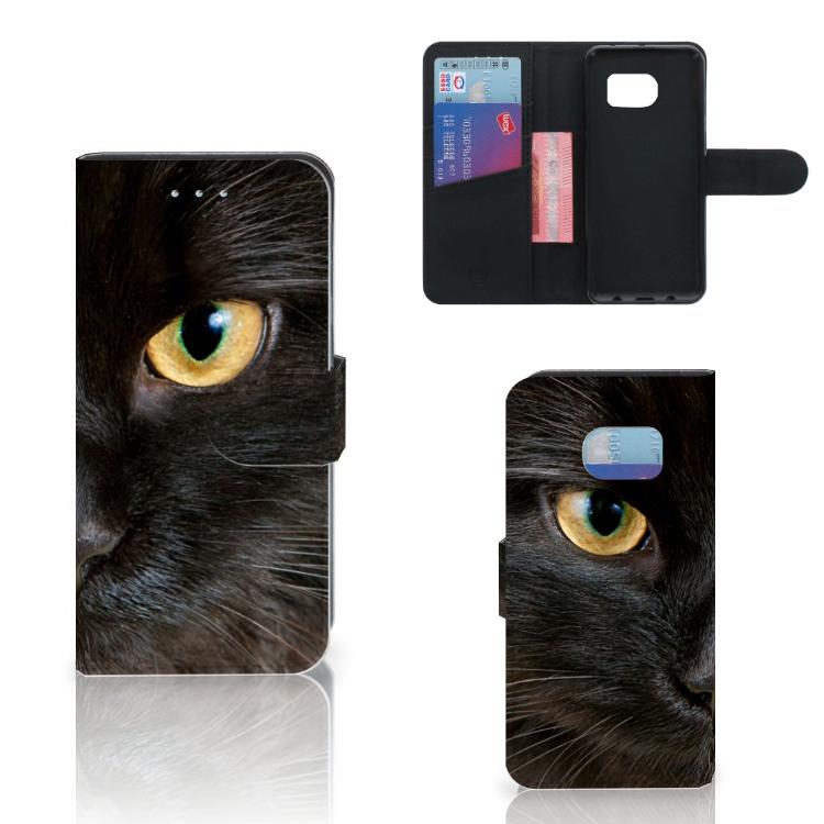 Samsung Galaxy S6 Edge Telefoonhoesje met Pasjes Zwarte Kat