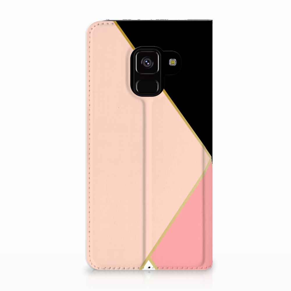 Samsung Galaxy A8 (2018) Uniek Standcase Hoesje Black Pink Shapes