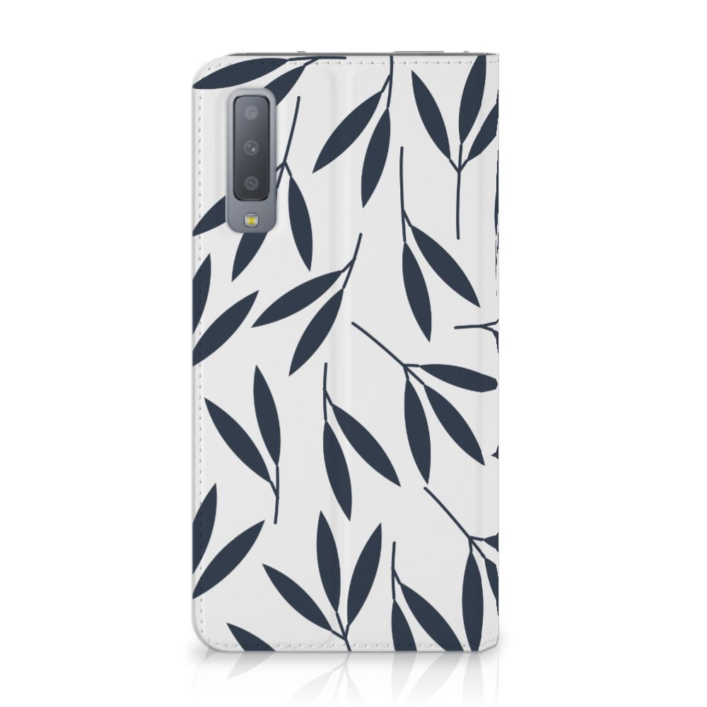 Samsung Galaxy A7 (2018) Standcase Hoesje Design Leaves Blue