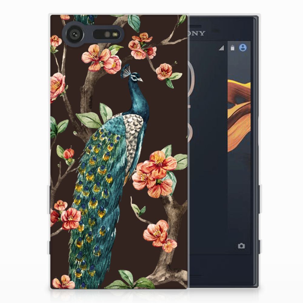 Sony Xperia X Compact TPU Hoesje Design Pauw met Bloemen