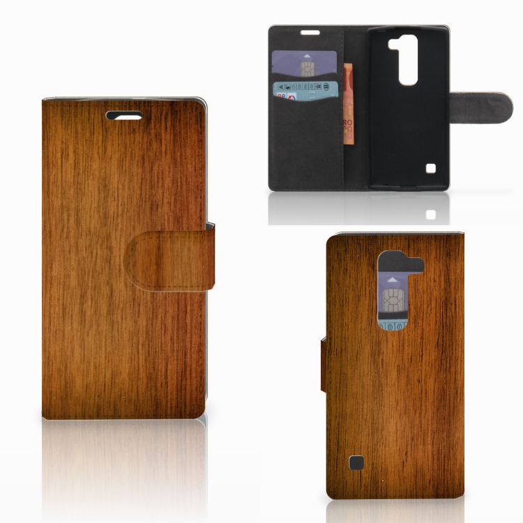 LG Spirit Book Style Case Donker Hout