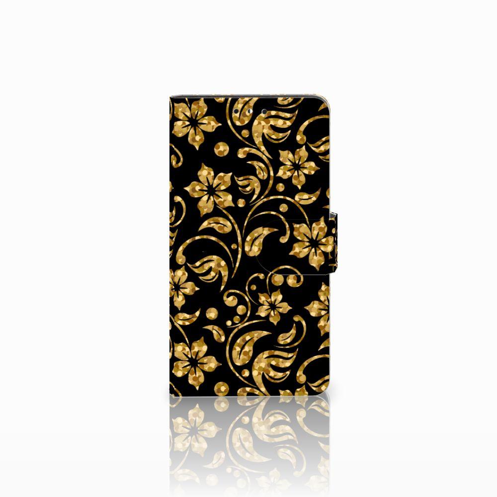 Huawei Y5 | Y6 2017 Boekhoesje Design Gouden Bloemen