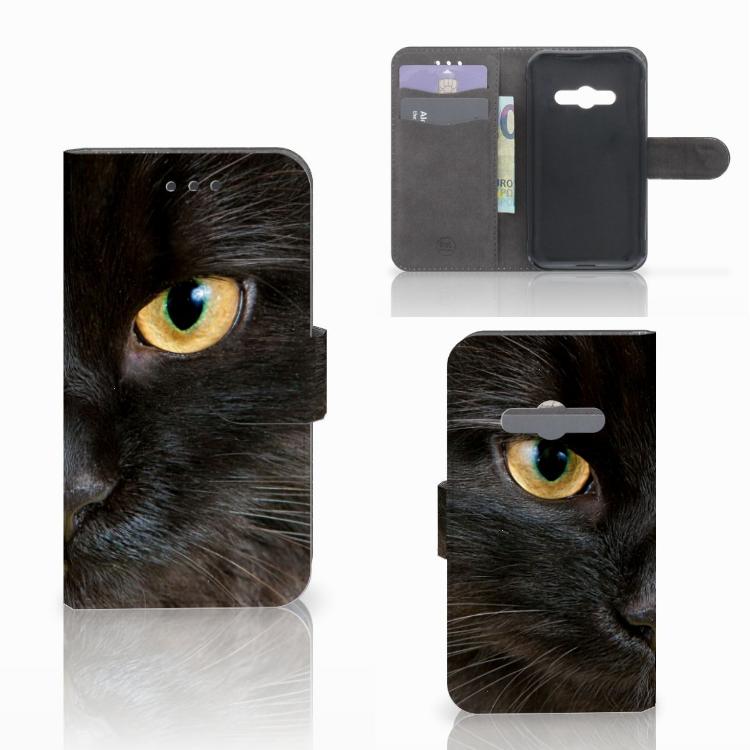 Samsung Galaxy Xcover 3 | Xcover 3 VE Telefoonhoesje met Pasjes Zwarte Kat