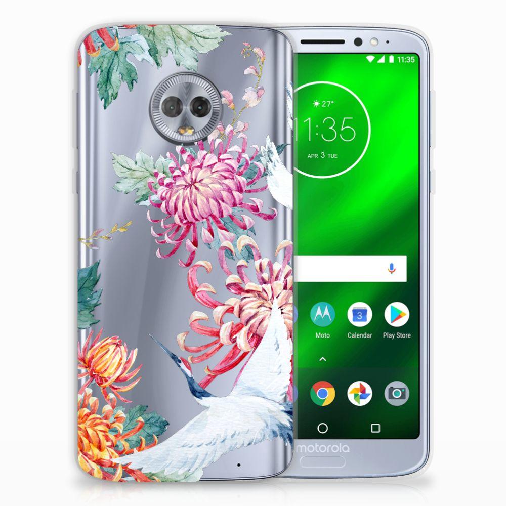 Motorola Moto G6 Plus TPU Hoesje Bird Flowers