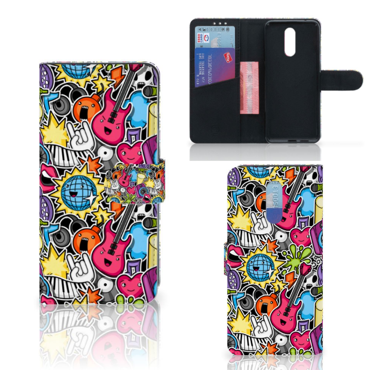 Nokia 3.2 Wallet Case met Pasjes Punk Rock