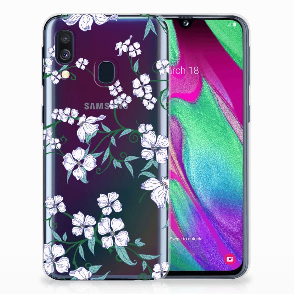 Samsung Galaxy A40 Uniek TPU Hoesje Blossom White