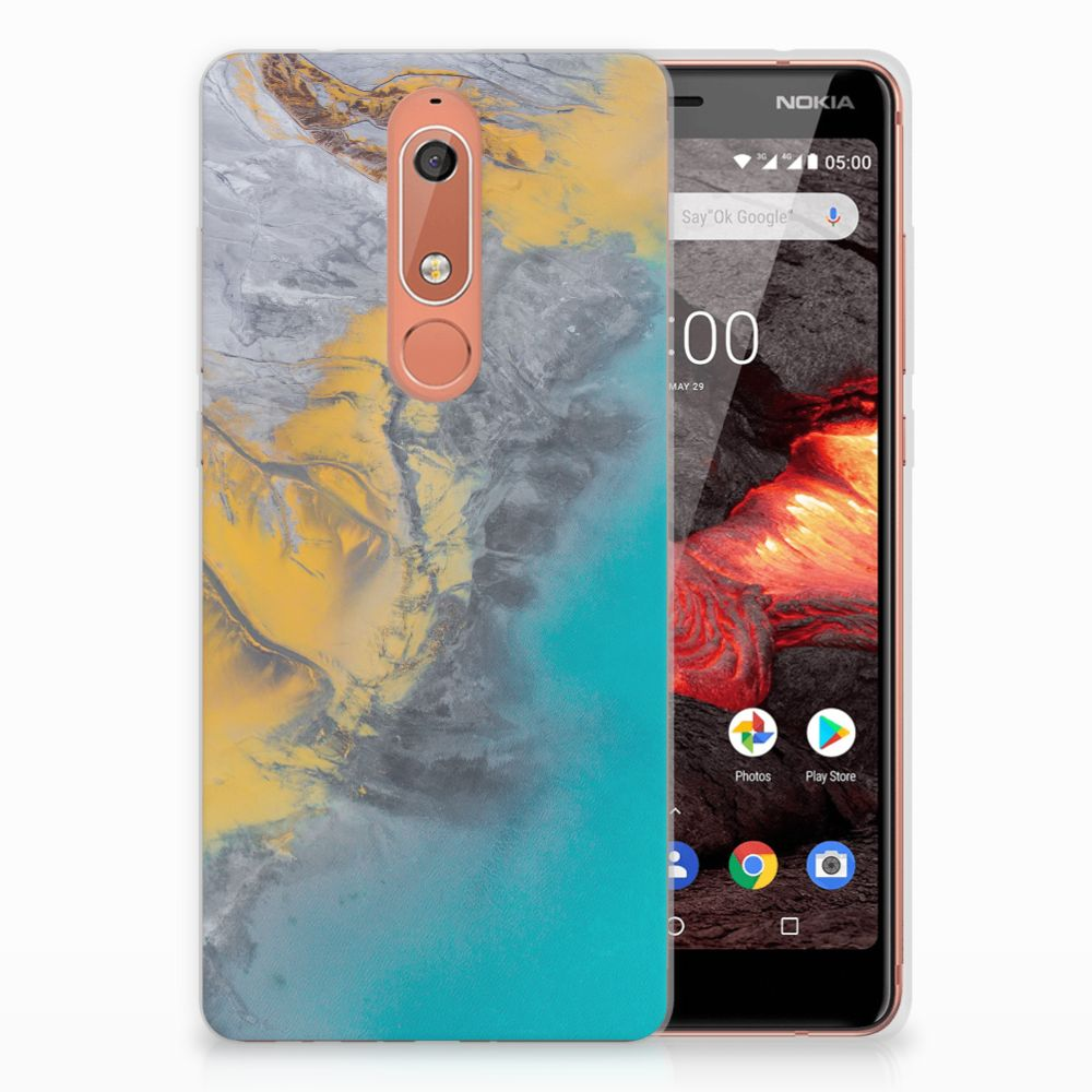 Nokia 5.1 (2018) TPU Siliconen Hoesje Marble Blue Gold
