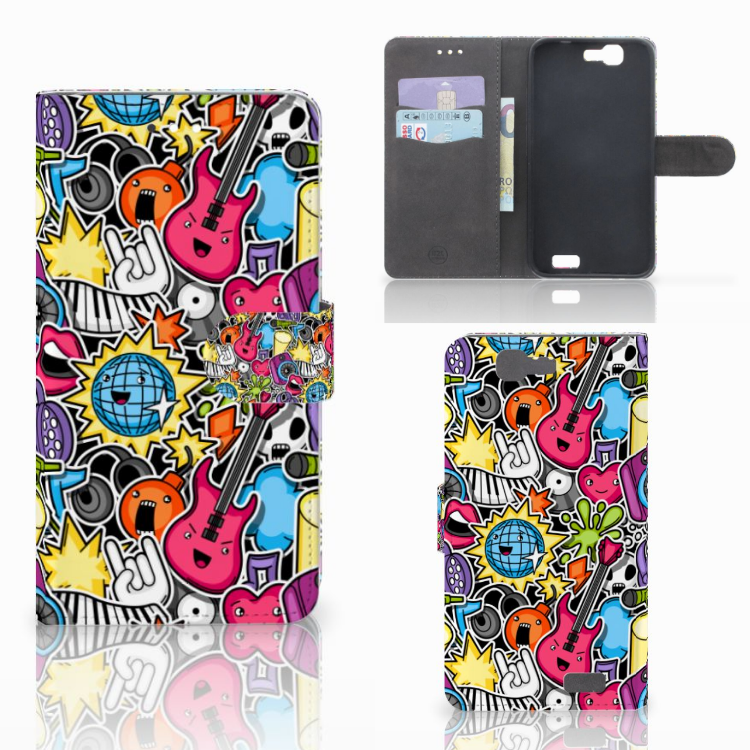 Huawei Ascend G7 Wallet Case met Pasjes Punk Rock