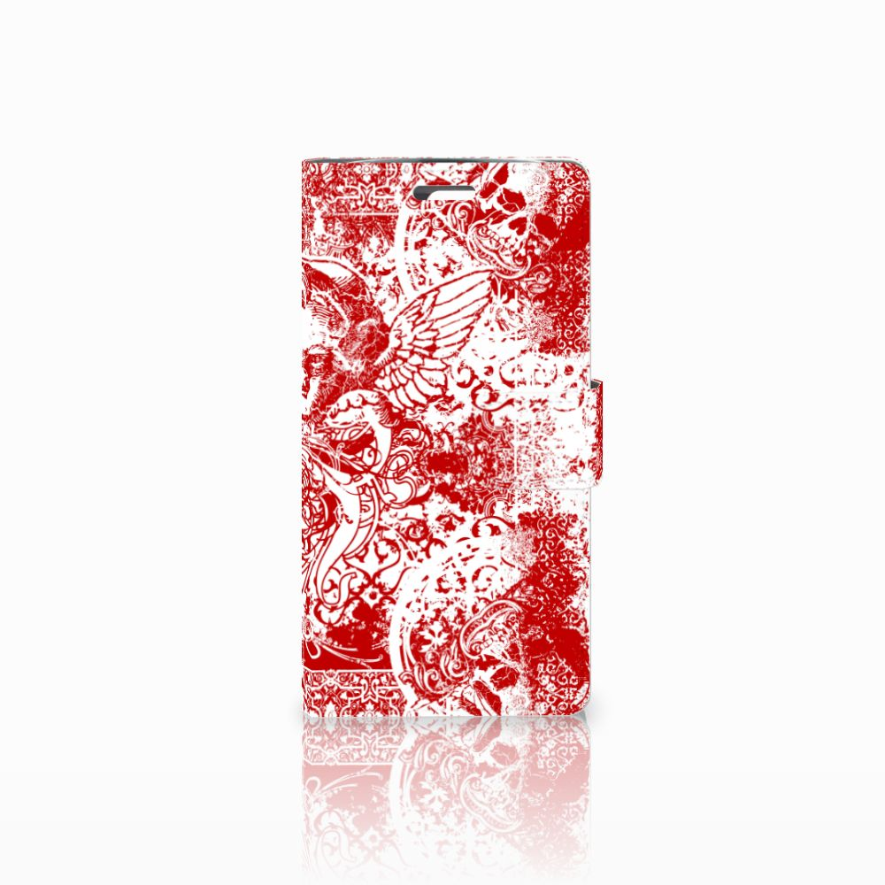 LG K10 2015 Boekhoesje Design Angel Skull Red