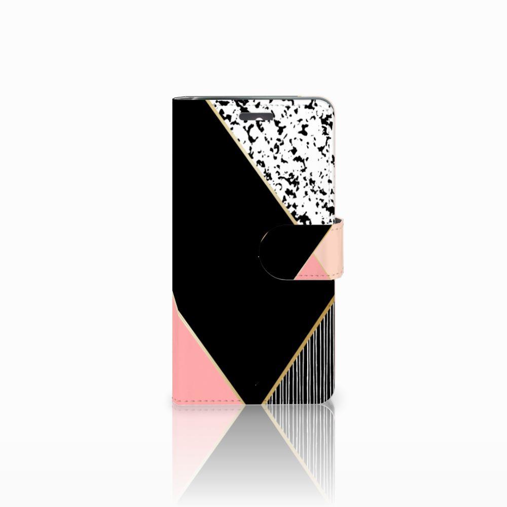Lenovo K6 Uniek Boekhoesje Black Pink Shapes