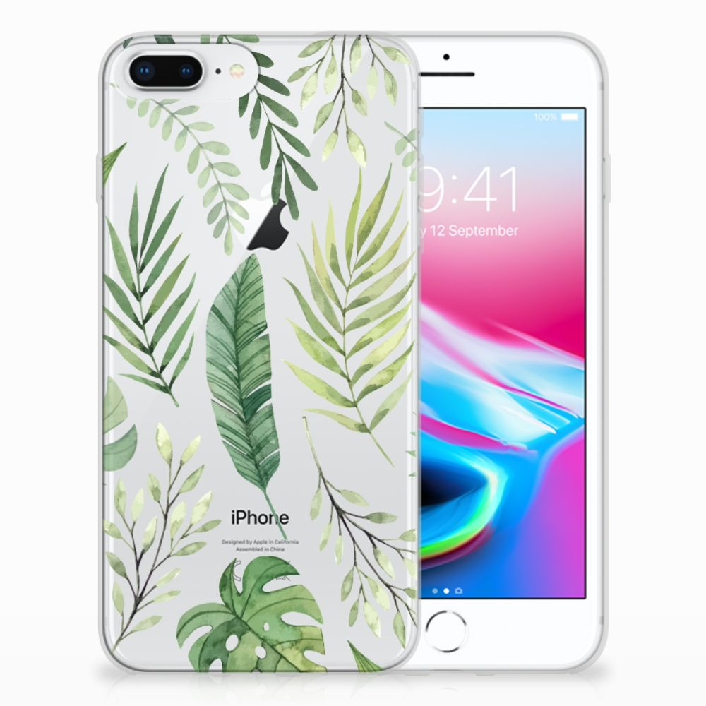 Apple iPhone 7 Plus | 8 Plus Uniek TPU Hoesje Leaves
