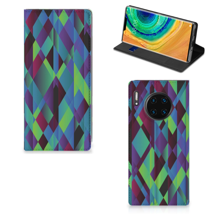 Huawei Mate 30 Pro Stand Case Abstract Green Blue