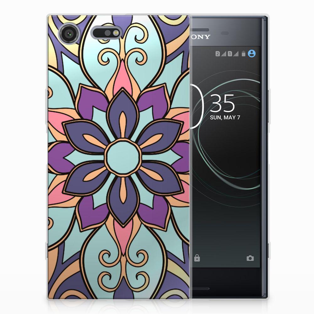 Sony Xperia XZ Premium TPU Hoesje Design Purple Flower